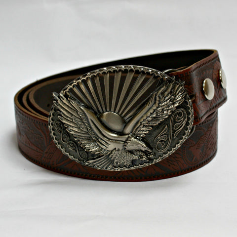 Oval Eagle Buckle & Tan Leather Belt