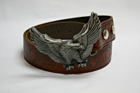 Soaring Eagle Buckle & Tan Leather Belt