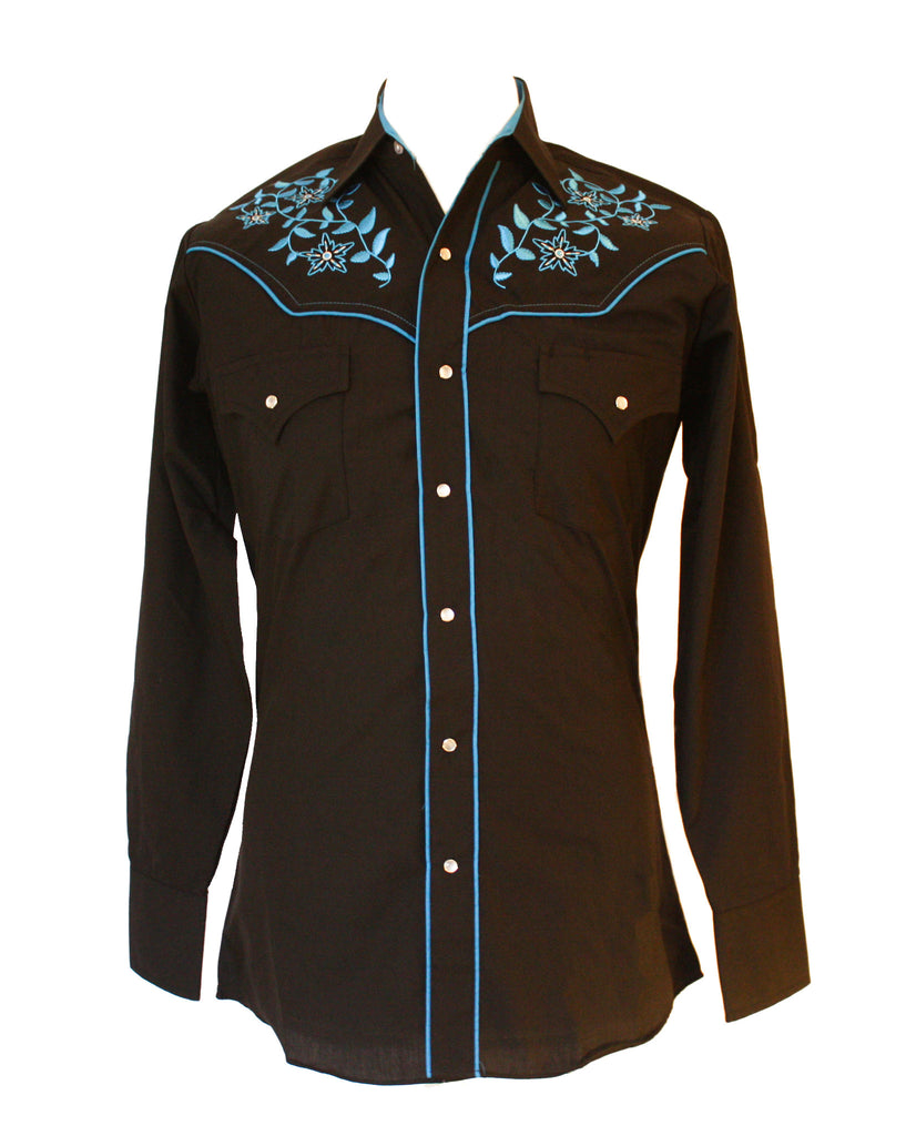 Ely Black Floral Western Shirt with Blue Embroidery