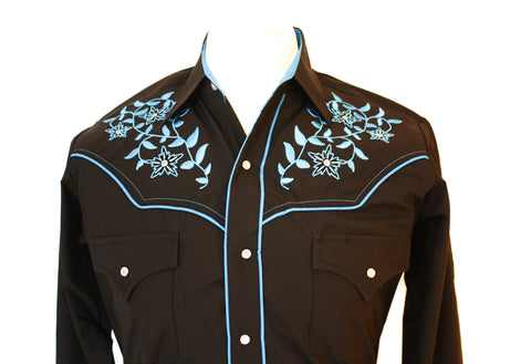 Ely Black Floral Western Shirt with Blue Embroidery Close Up