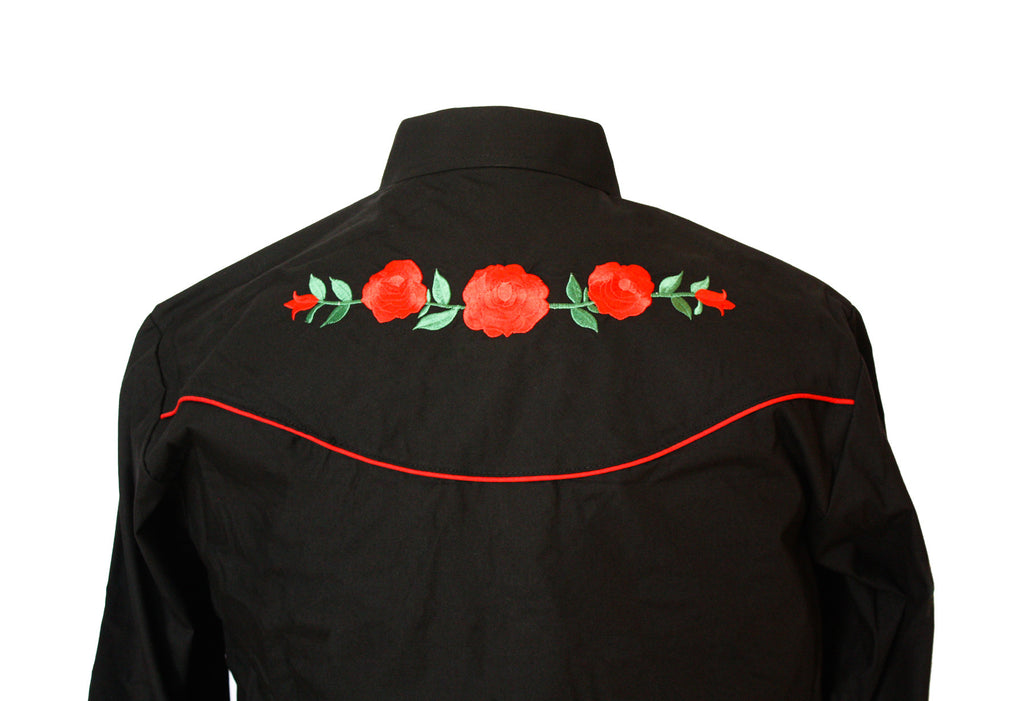 47051c7178683 Ely Black Rose Embroidered Western Shirt – Bronco Bill's