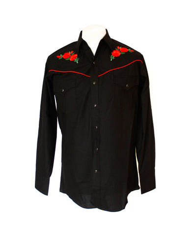 Ely Black Rose Embroidered Western Shirt