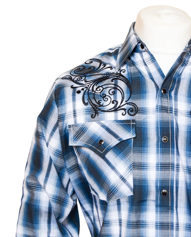 Ely Blue Checked and Embroidered Western Shirt