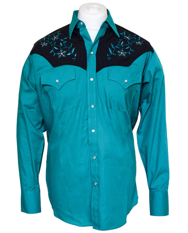 Ely Green Floral Western Shirt with Black Overlay