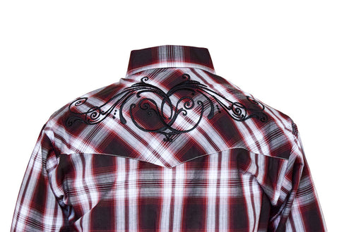 Ely Red Checked and Embroidered Western Shirt