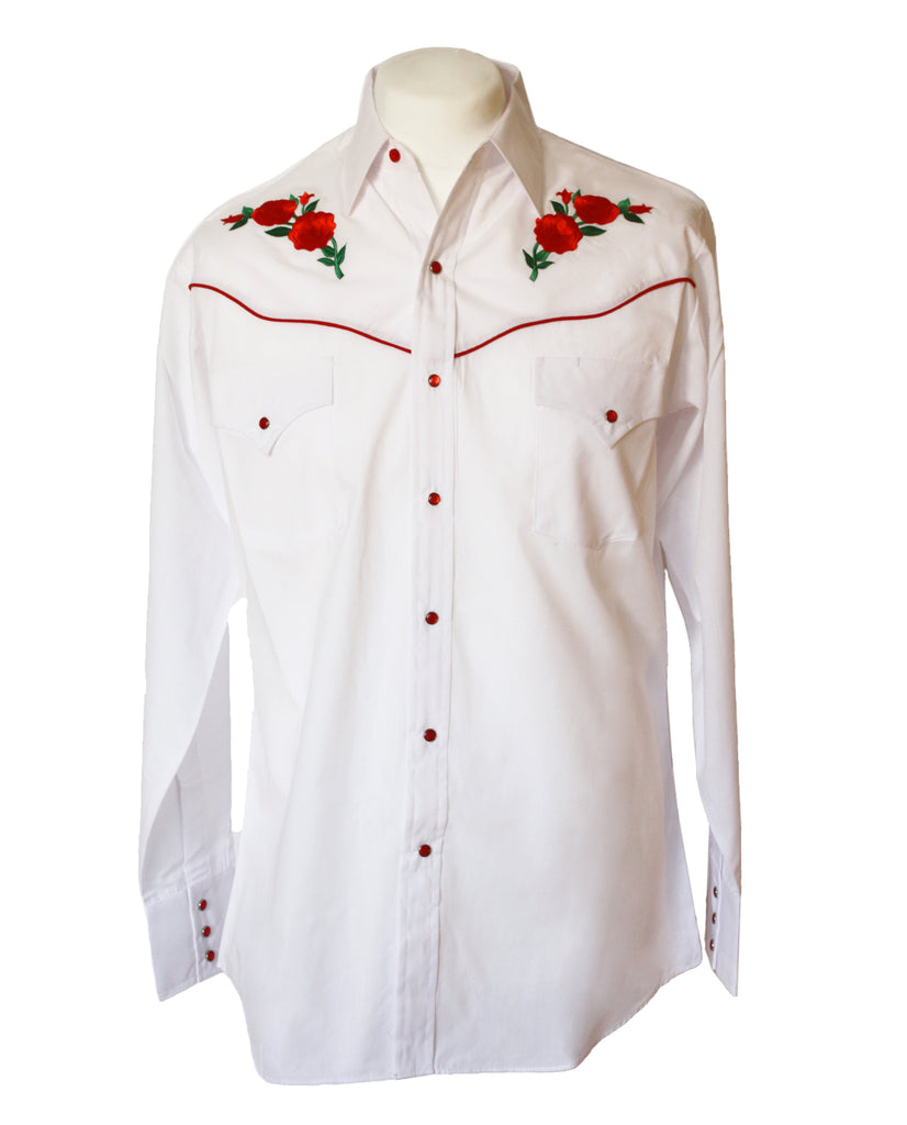 Ely White Rose Embroidered Western Shirt