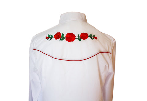 Ely White Rose Embroidered Western Shirt Back Close Up