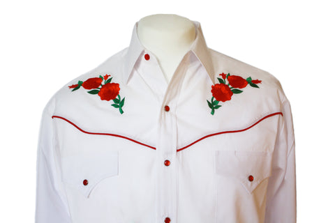 Ely White Rose Embroidered Western Shirt Close Up