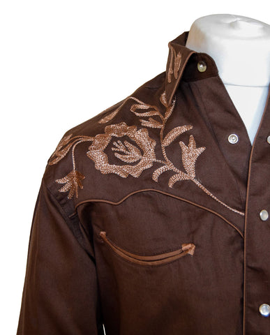 Rockmount Brown Floral Embroidered Western Cowboy Shirt