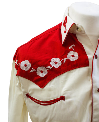 "Rockmount 2-Tone Cream and Red ""Loving You"" Embroidered Western Cowboy Shirt Front Close Up Side"