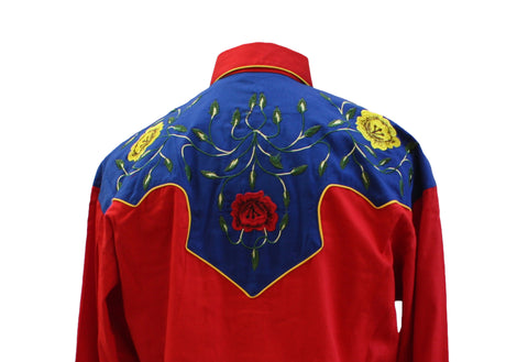 Rockmount 2-Tone Floral Red & Blue Western Cowboy Shirt Back Close Up