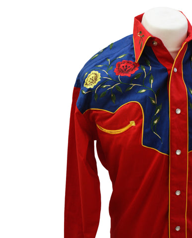Rockmount 2-Tone Floral Red & Blue Western Cowboy Shirt Front Close Up Side