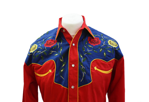 Rockmount 2-Tone Floral Red & Blue Western Cowboy Shirt Front Close Up