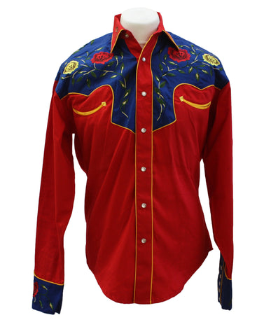 Rockmount 2-Tone Floral Red & Blue Western Cowboy Shirt