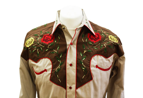 Rockmount 2-Tone Floral Tan & Brown Western Cowboy Shirt Front Close Up