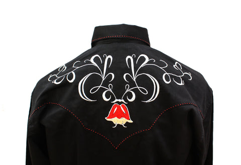 Rockmount Black Art Deco Tulip Embroidered Western Cowboy Shirt Back Close Up