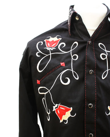 Rockmount Black Art Deco Tulip Embroidered Western Cowboy Shirt Front Close Up Side