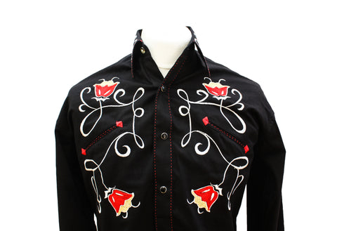 Rockmount Black Art Deco Tulip Embroidered Western Cowboy Shirt Front Close Up