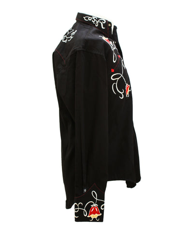 Rockmount Black Art Deco Tulip Embroidered Western Cowboy Shirt Side