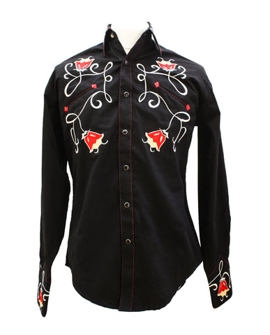 Rockmount Black Art Deco Tulip Embroidered Western Cowboy Shirt