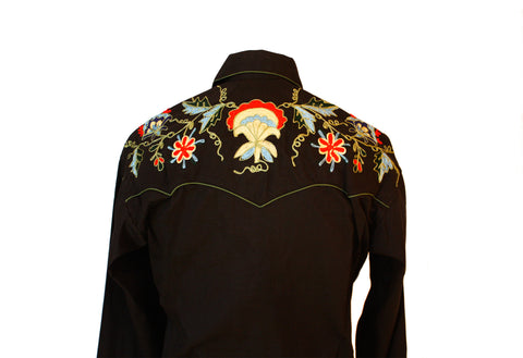 Rockmount Black Floral Embroidered Western Cowboy Shirt Back Close Up