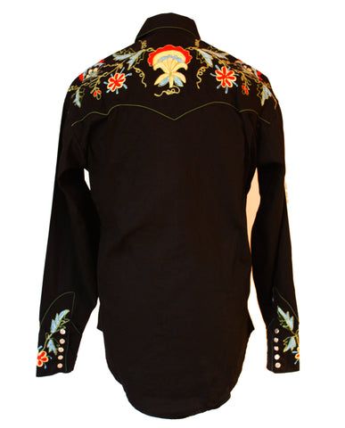 Rockmount Black Floral Embroidered Western Cowboy Shirt Back