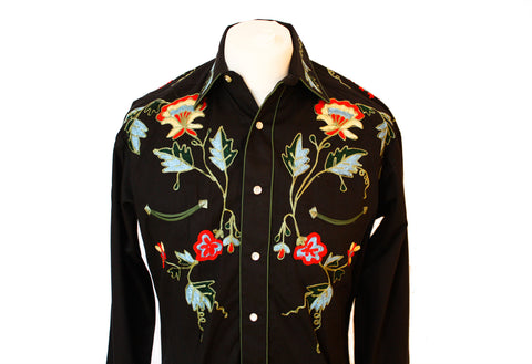 Rockmount Black Floral Embroidered Western Cowboy Shirt Front Close Up