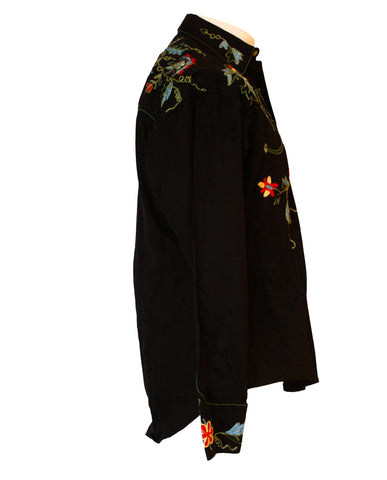 Rockmount Black Floral Embroidered Western Cowboy Shirt Side