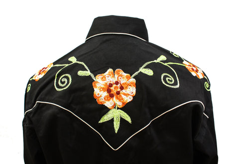 Rockmount Black and Orange Floral Embroidered Western Cowboy Shirt Back Close Up