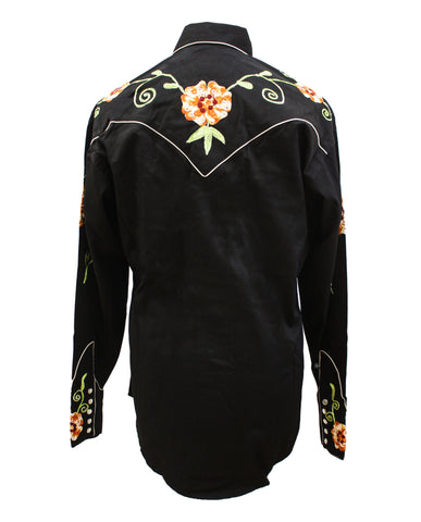 Rockmount Black and Orange Floral Embroidered Western Cowboy Shirt Back