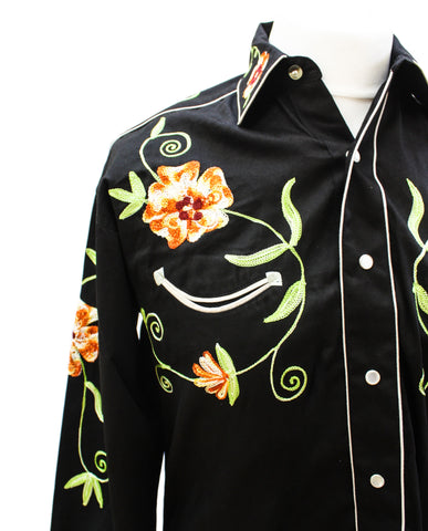 Rockmount Black and Orange Floral Embroidered Western Cowboy Shirt Front Close Up Side