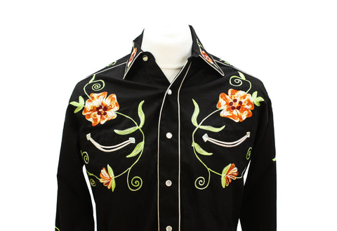 Rockmount Black and Orange Floral Embroidered Western Cowboy Shirt Front Close Up