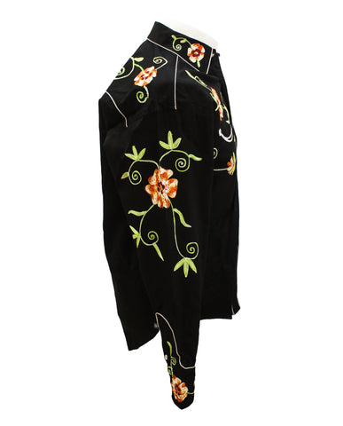 Rockmount Black and Orange Floral Embroidered Western Cowboy Shirt Side