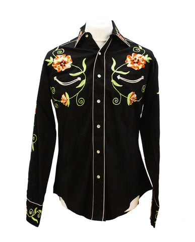 Rockmount Black and Orange Floral Embroidered Western Cowboy Shirt