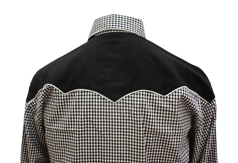 Rockmount Black and White 2-Tone Checked Western Cowboy Shirt Back Close Up