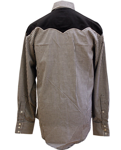 Rockmount Black and White 2-Tone Checked Western Cowboy Shirt Back