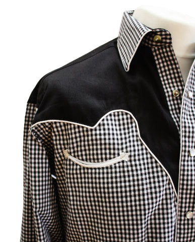 Rockmount Black and White 2-Tone Checked Western Cowboy Shirt Front Close Up Side