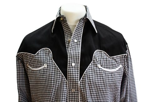 Rockmount Black and White 2-Tone Checked Western Cowboy Shirt Front Close Up