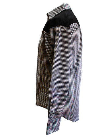Rockmount Black and White 2-Tone Checked Western Cowboy Shirt Side