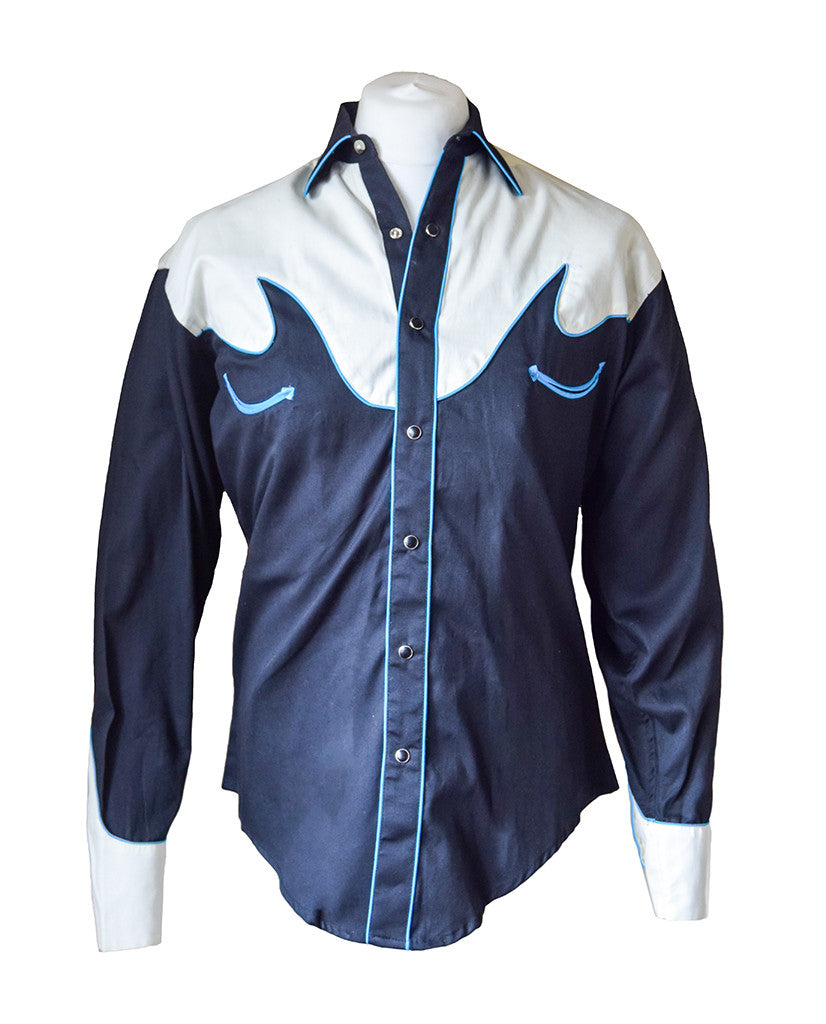 Rockmount Black with Cream Overlay and Electric Blue Embroidered Western Cowboy Shirt