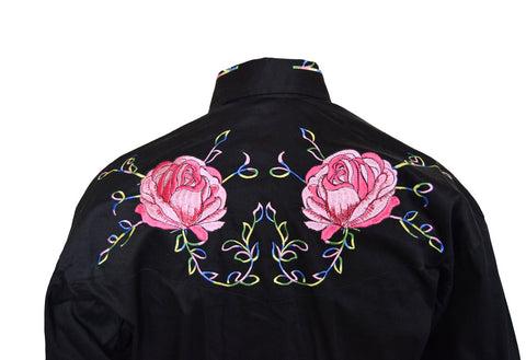 Rockmount Black with Pink Flowers Embroidered Western Cowboy Shirt