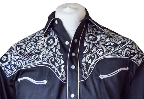 Rockmount Black with Silver Floral Embroidered Western Cowboy Shirt