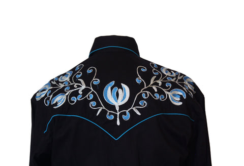 Rockmount Black with Turquoise Floral Embroidery Western Cowboy Shirt Back Close Up