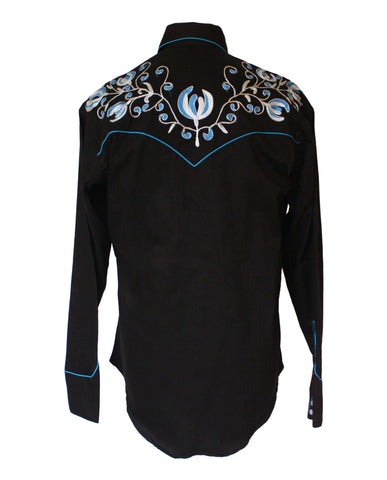 Rockmount Black with Turquoise Floral Embroidery Western Cowboy Shirt Back