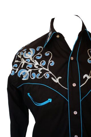 Rockmount Black with Turquoise Floral Embroidery Western Cowboy Shirt Front Close Up Side