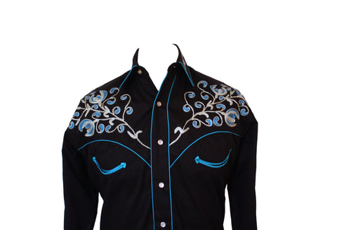 Rockmount Black with Turquoise Floral Embroidery Western Cowboy Shirt Front Close Up