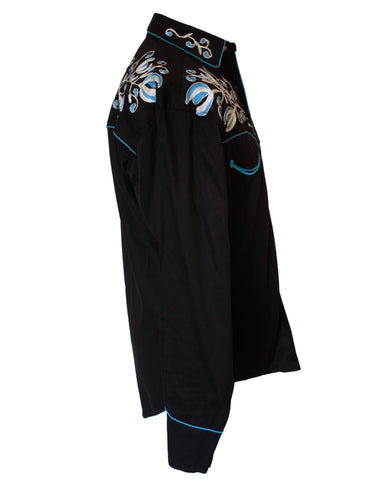 Rockmount Black with Turquoise Floral Embroidery Western Cowboy Shirt Side