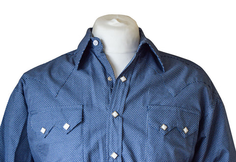 Rockmount Blue and Grey Mini Check Western Cowboy Shirt
