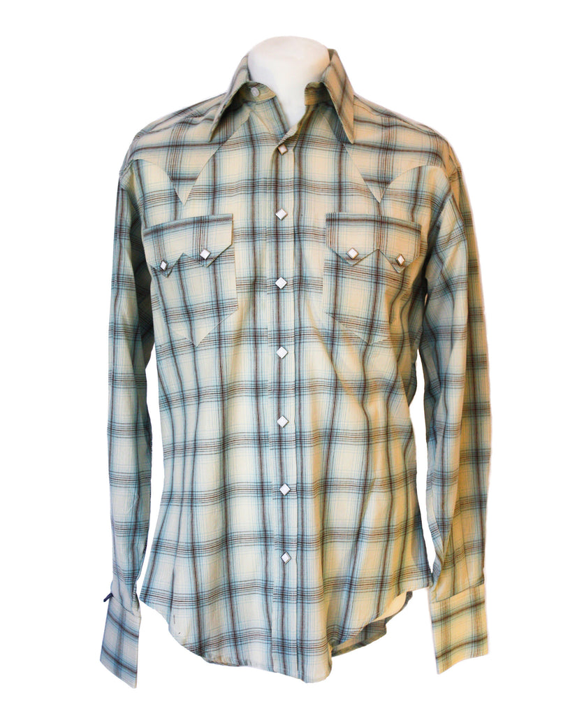Rockmount Blue and White Plaid/Checked Western Cowboy Shirt