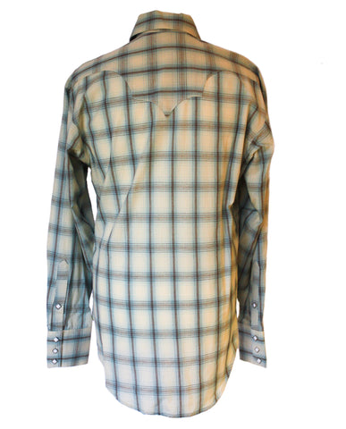 Rockmount Blue and White Plaid/Checked Western Cowboy Shirt Back